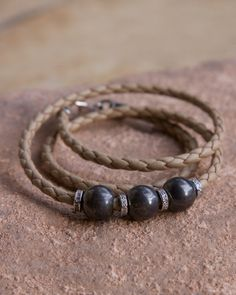 The Naomi Wrap - beige braided leather sterling silver