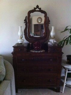 classic Victorian chest with its attached mirror