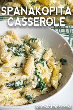 Spanakopita Casserole - - All the flavor, none of the fuss. Casserole Dishes, Casserole Recipes, Pasta Recipes, Dinner Recipes, Cooking Recipes, Pasta Casserole, Dinner Entrees, Oven Baked Meatballs, Italian Antipasto