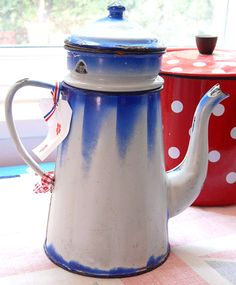 French blue enamel coffee pot
