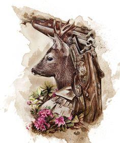 "Dieses Motiv zeigt ein klassisches Jagdgewehr, genannt ""Bergstutzen"".  This design shows a classic shotgun called ""Bergstutzen"". Hunting Drawings, Hunting Tattoos, Deer Skull Tattoos, Body Art Tattoos, Stag Tattoo Design, Black Pen Sketches, Deer Photos, Hunting Art, Deer Art"