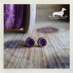 Amethyst. Post Earrings  Purple Violet Grape by PickleDogDesign
