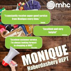 Monique, now that is what we call good service!  Visit our Haberdashery Department and meet Monique.  #Happy #Excellent #Testimonial #Satisfied #Service #CustomerService   Whatsapp 071 551 5390  #MHCWorld #MHC #WeBeatAnyQuote PLUS 12% on the difference. Bring your formal quote and we will beat it!  Phone: 012 326 6460  Follow us: @Mhcworld1  #WeekendVibes #SaturdayStyle #SaturdayShoutOut Formal Quotes, Electronics Online, Excellent Customer Service, Weekend Vibes, Haberdashery, Meet, Phone, Happy, Telephone