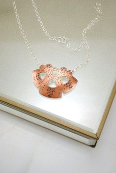 Copper Chased Textured Necklace. Sterling by PrettyRuggedDesigns