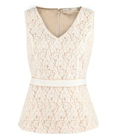 Look at this Ivory & Beige Lace Top on #zulily today!