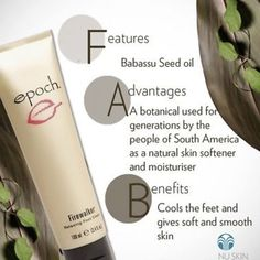 is perfect to pamper your tired Nu Skin, Foot Cream, Epoch, Moisturiser, Smooth Skin, Seed Oil, Natural Skin, Tired Feet, Face Products