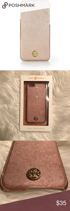 Good Condition - Tory Burch Robinson iPhone 6 Case Tory Burch Robinson Metallic Saffiano Leather Case  Original purchase- Bloomingdales  Condition- Good used condition. Comes with original box. It does have some minor flaws that I don't believe are noticeable. There is a chipped edge near the space on the upper left side. The top corners have small dings. The TB decal on the back is a bit worn. I think it still looks great! only stopped using it because I got a new phone. I did my best to…