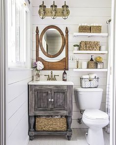 """3,529 Likes, 12 Comments - Country Living (@countrylivingmag) on Instagram: """"Tiny bathroom, big country charm! #CLdecor #housegoals #DIY (: @shadesofblueinteriors)"""""""