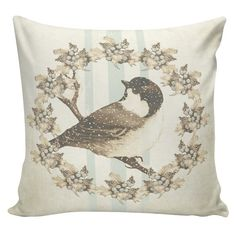 Christmas Pillow Winter Bird Brown Mineral by ElliottHeathDesigns I designed this just for my house because I decorate in all pale beige, white, and very pale blue for Christmas! There are several others in these pale shades.