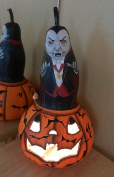 Dracula Light Up Halloween Gourd by BostfulBits on Etsy, $50.00