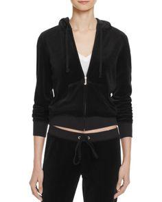 Juicy Couture Black Label Robertson Velour Zip Hoodie in Pitch Black - 100% Bloomingdale's Exclusive