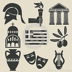 Greece symbol icons set