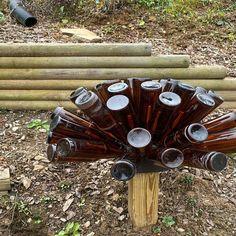 Beer Bottle Tree Cap and Base Brown Bottles, Glass Bottles, Wine Bottles, Bottle Garden, Glass Garden, Blue Bottle, Bottle Art, Bottle Torch, Beer Bottle Crafts