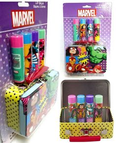 Marvel Avengers Lip Balm with Tin, 5 Count - New/Factory Sealed #Marvel