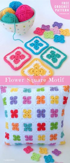 "Flower Crochet Square Motif Free Pattern US terms. Size: about 3"" / 7 cm 8-ply cotton in two colors the hook number 3.5mm Hi crochet lovers. What do you say for this project? Elementary squares with flower motif are the perfect puzzle to make the bigger blanket or the pillows. #CrochetFlowerSquare #FreePattern"