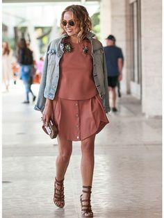 Kelly Framel in neutral pink & denim jacket #NYFW Street Style | Spring 2014 Fashion Week #Spring2014