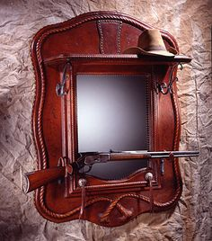 Leather Mirror with Top Shelf