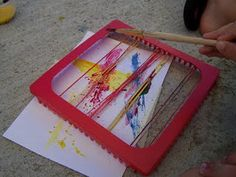 Snap paintings!  Can use hot pad looms, or stretch rubber bands over small box and place paper inside.   Paint rubber band, pull up, and let it snap down onto the paper.
