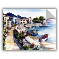 Bill Drysdale Nafpaktos Art Appeals Removable Wall Art, Size: 18 x 24, Brown
