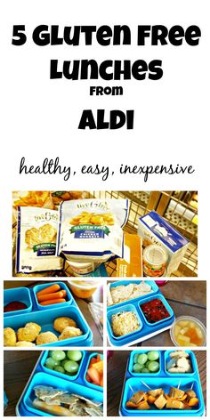 5 Healthy and Easy Gluten Free Lunches made with ALDI products. These lunches are so delicious, even those that are not gluten free will enjoy them! Gluten Free Snacks, Foods With Gluten, Gluten Free Cooking, Sans Gluten, Dairy Free Recipes, Gluten Free Aldi, Gluten Free Lunch Ideas, Gluten Free Products, Kid Recipes