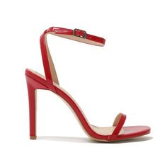 Notion Squared Toe Barely There Heels in Red Patent