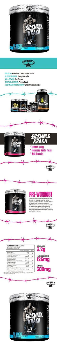 Sidewalk Kraka | Iron Addicts | Pre-Workout Formula | Formulated By CT Fletcher (30 Servings, Blue MuthaFuckin' Raspberry)