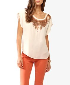 Cream and Gold Sequin Burst Top   2000028163 (Forever 21) $27.80