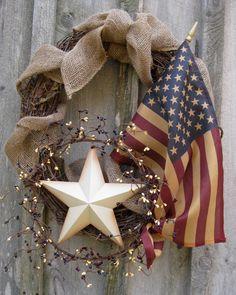 Fall Wreath, Americana Wreath, Autumn Decor, Patriotic, Rustic, Primitive,Tea Stained Flag. $109.00, via Etsy.