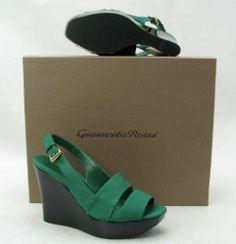 NEW! $595 GIANVITO ROSSI GREEN FABRIC WEDGE SLING #PlatformsWedges ~ Beautiful colour