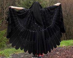 Mockingjay Raven Blackbird Owl Wings Custom Bird Cloak OOAK Painted
