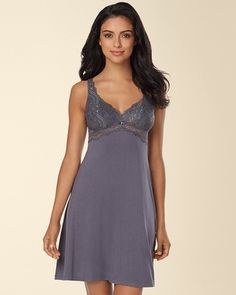 d8e23f3074f0c Soma Intimates Frou Frou by Kenan True Romance Bust Support Lace Sleep  Chemise Graphite #somaintimates