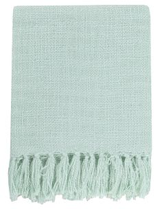 Our Belize throw blanket in aqua boasts breezy fresh style with loose weave pattern and long knotted fringe. Woven from soft acrylic thread for durability, this throw is perfect tossed on the bed or y