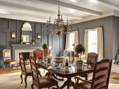 Channeling Old World vibes, this American Manor House plays off of its rich history best in the cozy dining area.