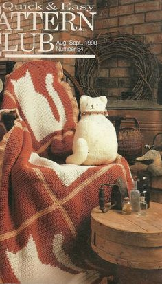 Crochet cats afghan pattern, Plastic canvas patterns, sewing patterns, cross-stitch, Vintage DIY Patterns, Annie's Pattern Club, 1990