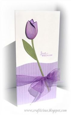 crafticious: Pastel Tulip Cards...one lovely tulip on a tall card...