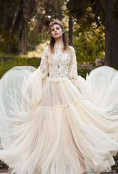 The Best Looks From Bridal Fashion Week This dreamy Costarellos wedding gown is a true statement, fit for any season. Bohemian Lace Dress, Bohemian Wedding Dresses, Sexy Wedding Dresses, Boho Bride, Bridal Dresses, Wedding Gowns, Wedding Cakes, Lace Wedding, Greek Wedding