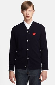 Comme des Garçons 'Play' Wool Cardigan with Heart Appliqué available at #Nordstrom
