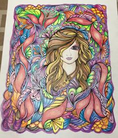 Coloring Book: Fanciful Faces Medium: Faber Castell Colour Pencils I have to make her eye pop out to give it an edgier look. Coloring Book Art, Adult Coloring Pages, Faber Castell, Floral Design, Design Color, Colored Pencils, Color Inspiration, Art Nouveau, Aurora Sleeping Beauty