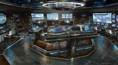 Check out Star Trek concept art by James Clyne ! Abrams Star Trek movie began pre-production in early 2007 prod. Spaceship Interior, Futuristic Interior, Futuristic Art, Cyberpunk, Science Fiction, Blade Runner, Star Trek 2009, Sci Fi Environment, Sci Fi Ships