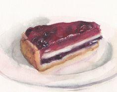 Original watercolor painting berry pie