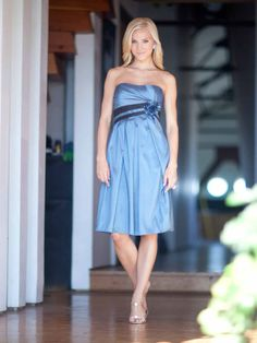 Fashionable A-line empire waist Taffeta bridesmaid dress