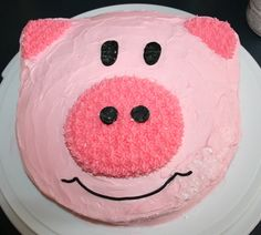 Pig Cake ~ Farm theme birthday ~ made by Leann