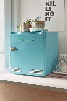 Big Chill, Bright Colors: 7 Refrigerators in Eye-Popping Hues — End of the Rainbow Big Chill, Stainless Steel Mini Fridge, Gorenje Retro, Tiny Fridge, Smeg Mini Fridge, Dorm Fridge, Retro Fridge, Urban Outfitters, Girl Cave