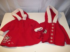 Disney Baby Minnie Mouse Girl's Hooded Dress Coat Winter Snowflakes Size 6-9M #Disney