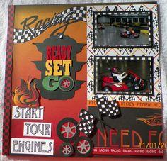 handmade Scrapbook Layout pg. 1:  Racing, Go Karts, Moxxie-Racing kit from www.trmemories.com