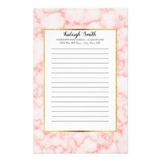 Personalized Pink Marble Graduation Year School Stationery - marble gifts style stylish nature unique personalize