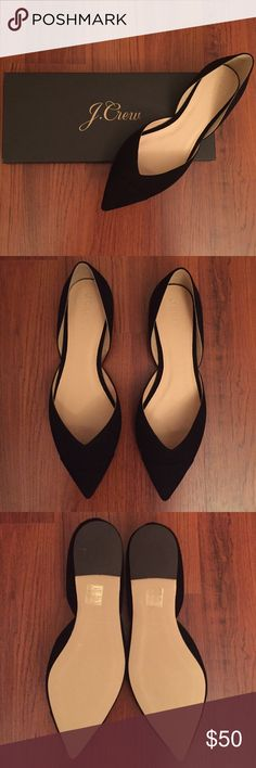 "J.Crew Sadie Flat in Suede Beautiful unworn luxurious Suede flat with a v-shaped vamp and a classic cap toe. Suede upper and leather lining. 1/4"" heel. New in box. J. Crew Shoes Flats & Loafers"