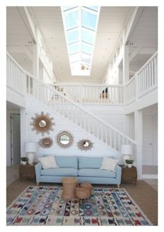White-painted, double-height living space in Seaside-style Cornish house (photo: John Freeman) by Roderick James Architects Timber Stair, Living Room Interior, My Dream Home, Living Spaces, Living Rooms, Decoration, Architecture Design, New Homes, Sweet Home