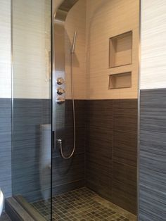 Contemporary black and white shower with two niches and Schluter edging. Brick Patterns Patio, Tile Patterns, Attic Bathroom, Master Bathroom, Bathroom Renovations, Tile Bathrooms, Modern Bathrooms, Tile Edge, Tile Stores
