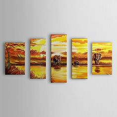 Hand Painted Oil Painting Landscape Elephant and a River with Stretched Frame Set of 5 1307-LS0357 – USD $ 119.99